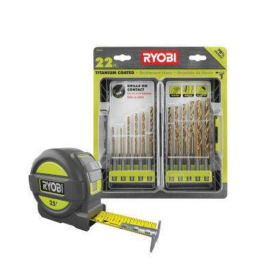Titanium Drill Bit Kit (22-Piece) with BONUS 25FT Tape Measure