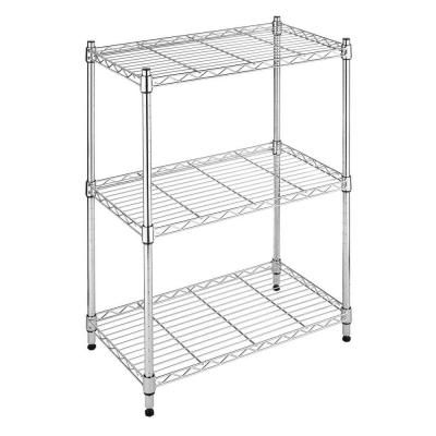 Deluxe Rack Collection 23.15 in. x 29.9 in. Supreme Small 3-Tier Shelving in Chrome