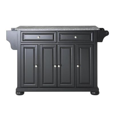 Alexandria Black Kitchen Island with Granite Top