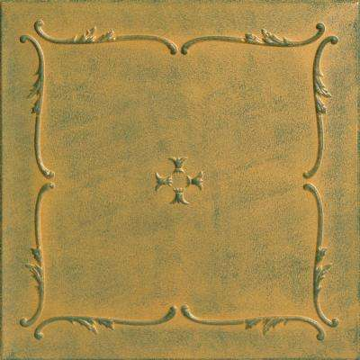 Spring Buds 1.6 ft. x 1.6 ft. Foam Glue-up Ceiling Tile in Green Gold