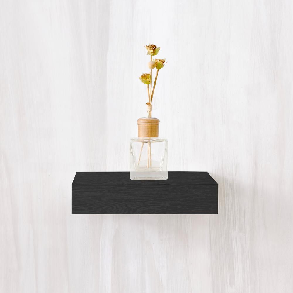 Amalfi 10 in. x 2 in. zBoard  Wall Shelf Decorative Floating Shelf in Black Wood Grain