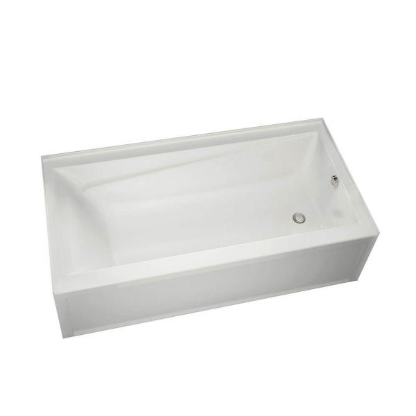 New Town 60 in. Right Drain Rectangular Alcove Non-Whirlpool Tub in White