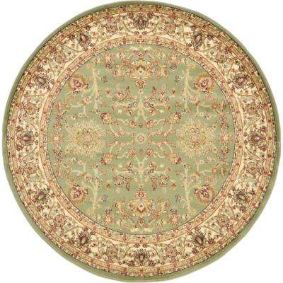 Agra Light Green 6 ft. x 6 ft. Round Area Rug