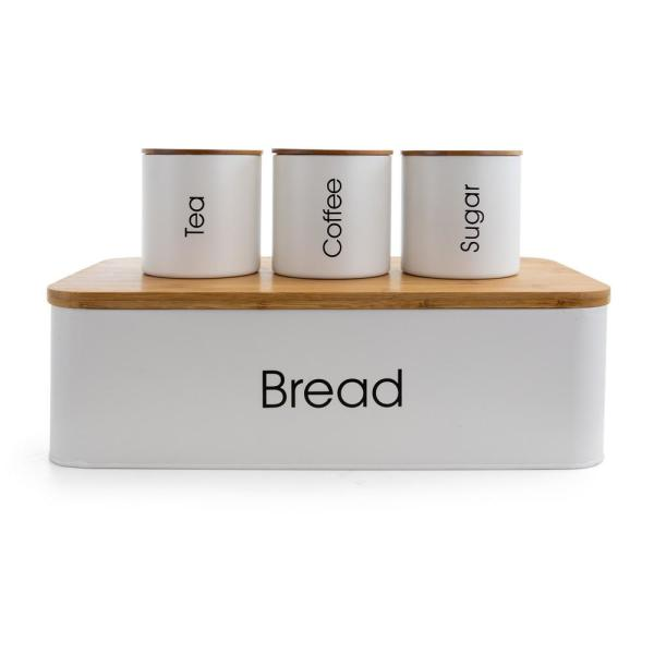 4-Piece Metal Canister Set with Bamboo Cutting Board Lid