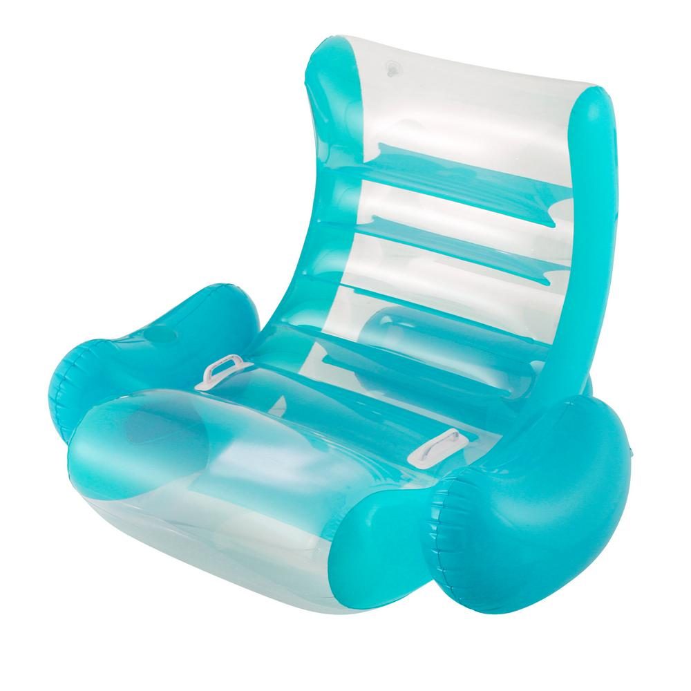 Summer Waves Teal Inflatable Pool Rocking Lounge Chair K70734000156