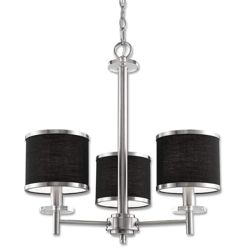 Beldi medford collection 3 light satin nickel chandelier with beldi medford collection 3 light satin nickel chandelier with black fabric shade aloadofball Choice Image