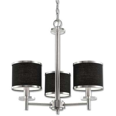 Medford Collection 3-Light Satin Nickel Chandelier with Black Fabric Shade