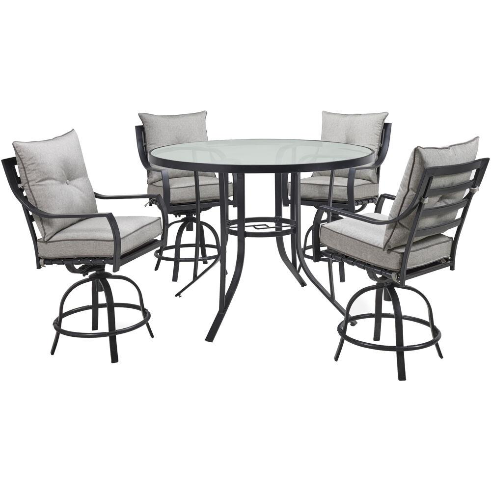 5 Piece Small Round Table And 4 Dining Chairs: Hanover Lavallette 5-Piece Steel Round Outdoor Dining Set