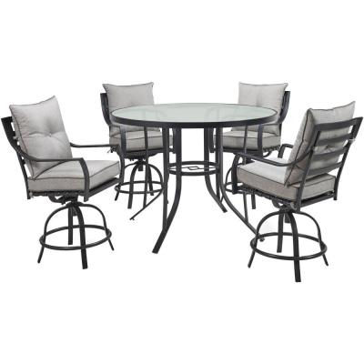 Lavallette 5-Piece Steel Round Outdoor Dining Set with Silver Linings Cushions, 4 Swivel Chairs and Glass-Top Table