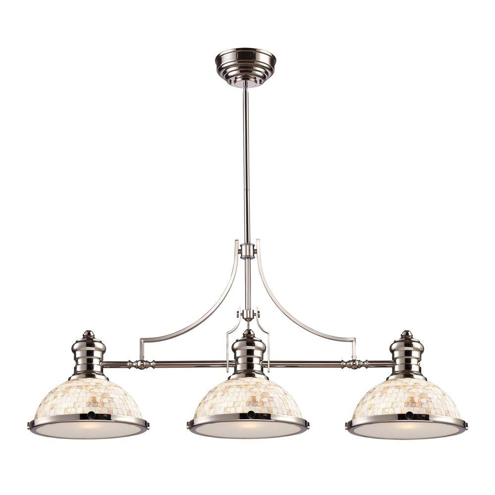 Chadwick 3-Light Polished Nickel Ceiling Mount Island Light