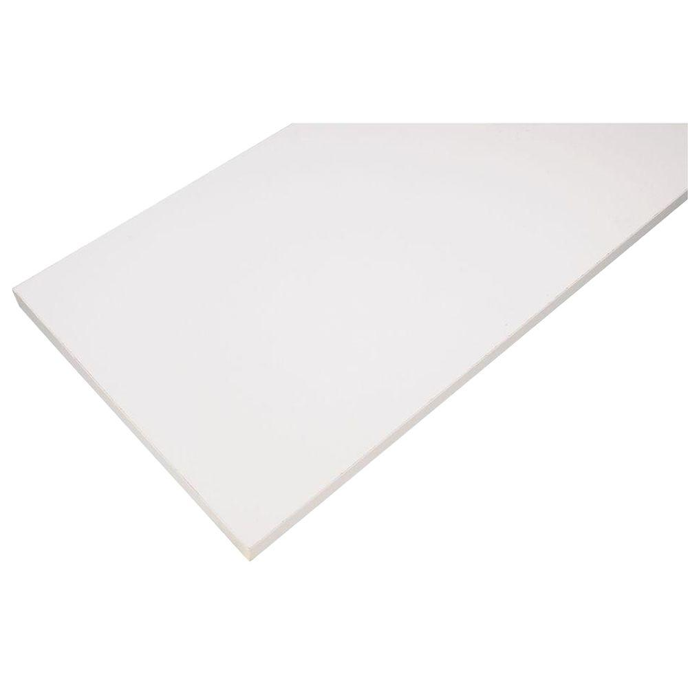 12 in. x 48 in. White Laminated Wood Shelf with Satin