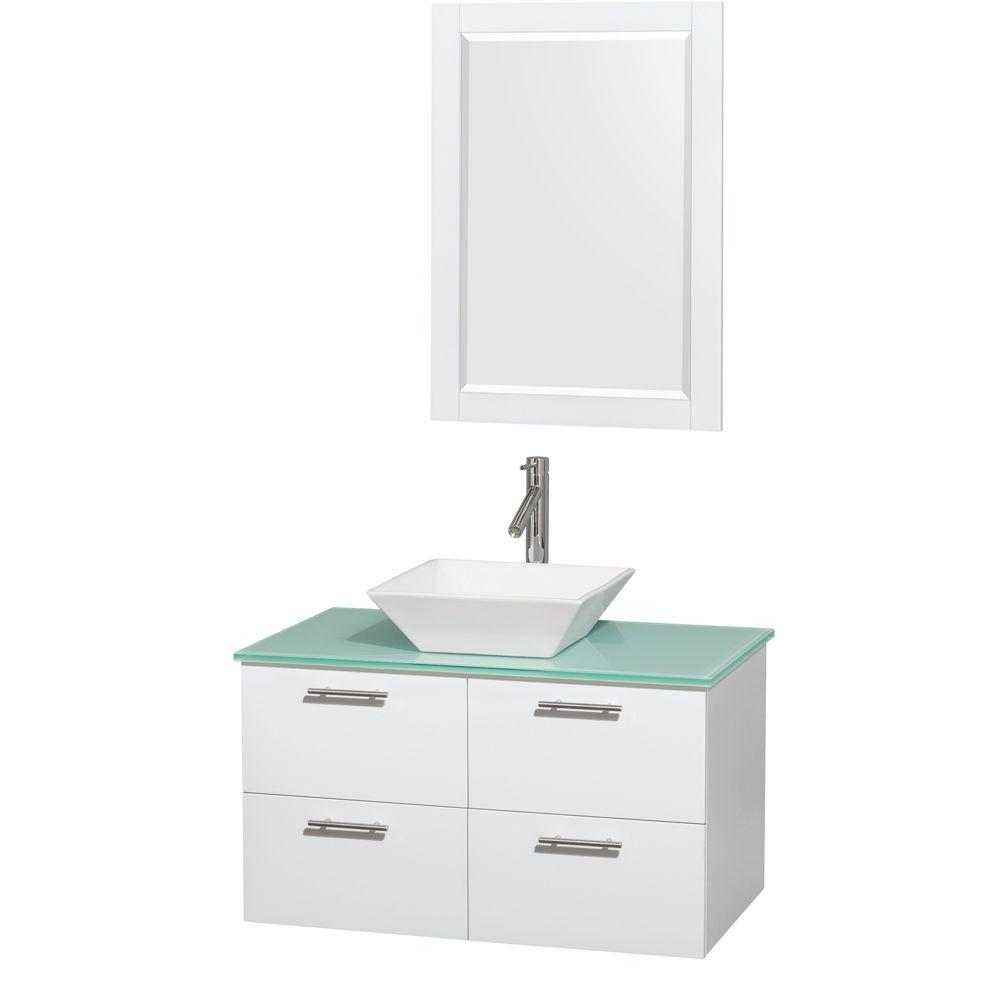 Wyndham Collection Amare 36 in. Vanity in Glossy White with Glass Vanity Top in Green, Porcelain Sink and 24 in. Mirror