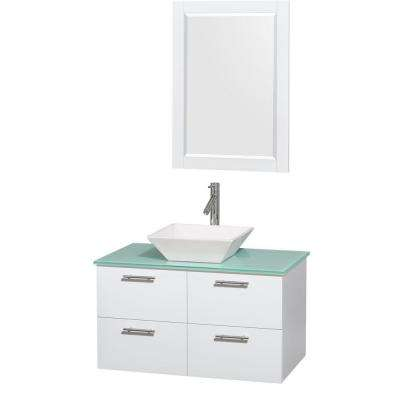 Amare 36 in. Vanity in Glossy White with Glass Vanity Top in Green, Porcelain Sink and 24 in. Mirror