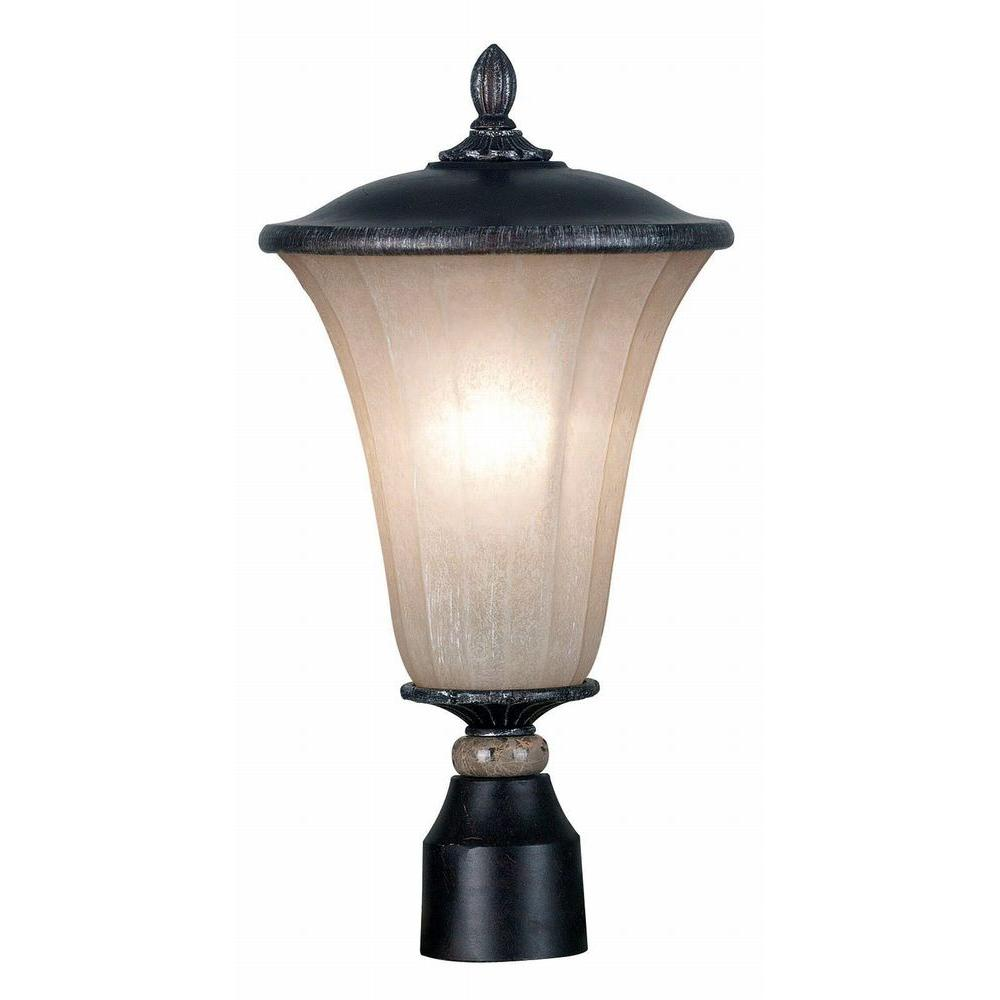 Kenroy Home Leafston 1-Light 18 in. Mercury Bronze Post Lantern-DISCONTINUED