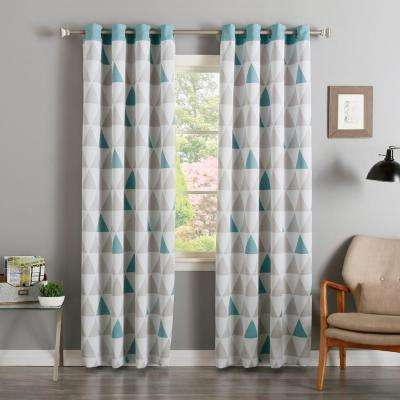 84 in. L Ocean Mixed Triangle Room Darkening Curtain (2-Pack)