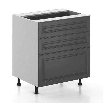 Ready to Assemble 30x34.5x24.5 in. Buckingham 3-Drawer Base Cabinet in White Melamine and Door in Gray