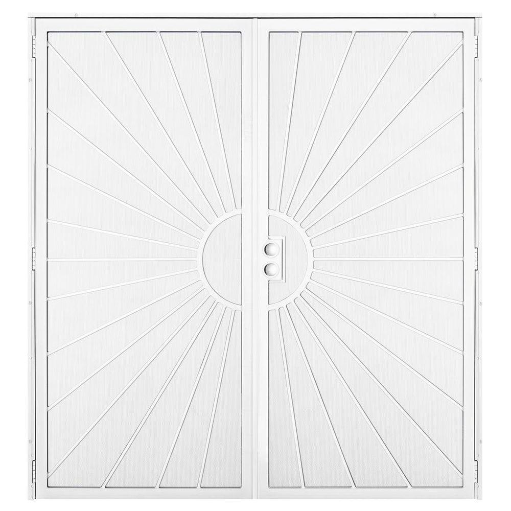 Unique Home Designs 72 in. x 80 in. Solana White Surface Mount Outswing Steel Security Double Door with Perforated Metal Screen