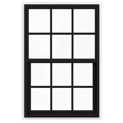 36 in. x 54 in. V-4500 Series Black Painted Single-Hung Vinyl Window with 6-Lite Colonial Grids/Grilles