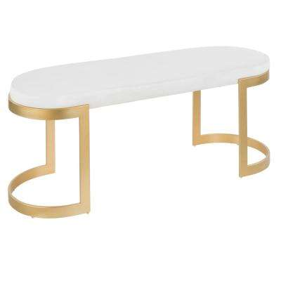 Demi Gold and White Velvet Bench