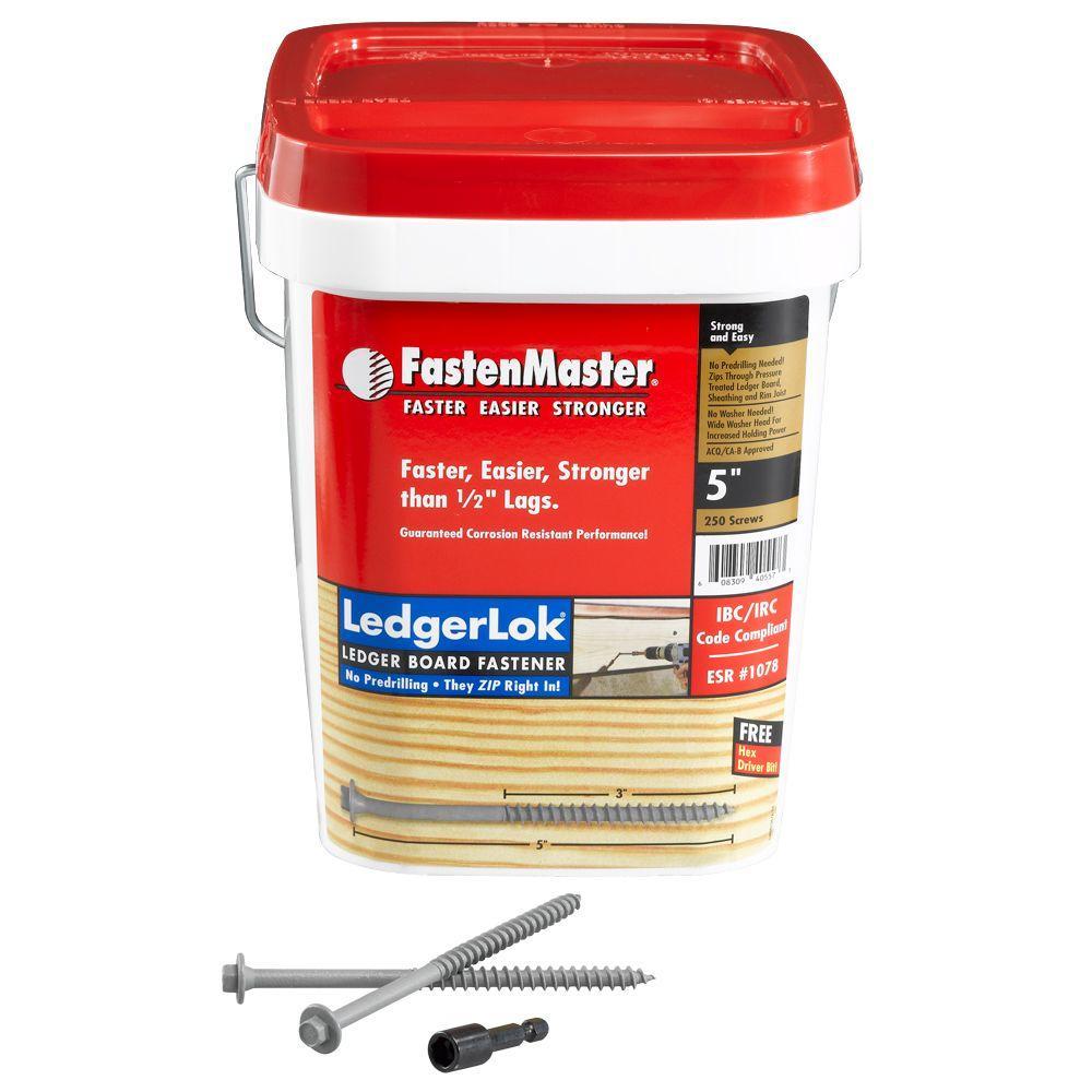 FastenMaster LedgerLok 5 in. Coarse Metal Hex-Head Wood Screws (250-Pack)