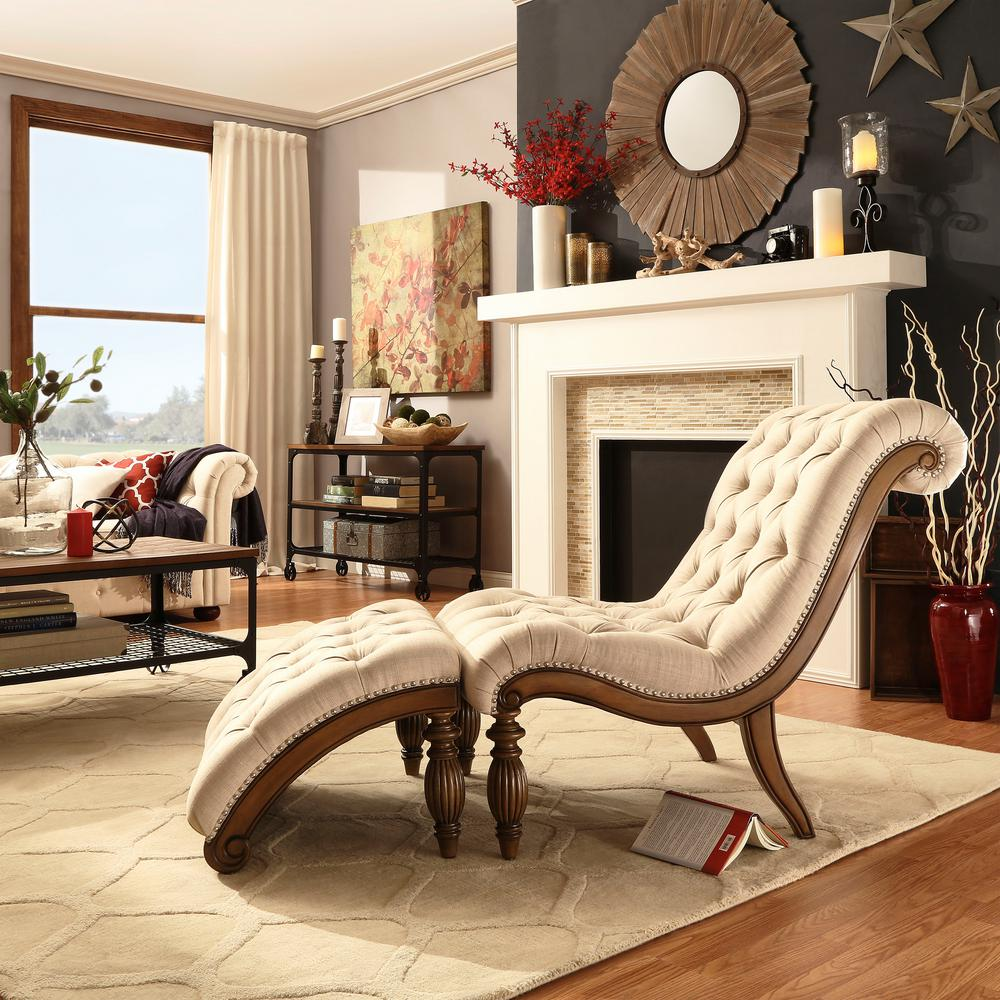 HomeSullivan Beige Linen Tufted Chair with Ottoman