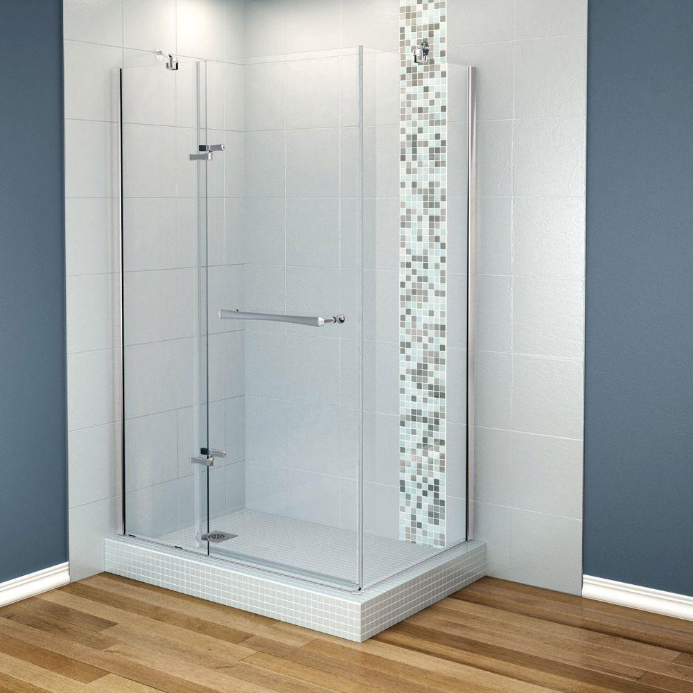 MAAX Reveal 33-7/8 in. x 48 in. x 71.5 Corner Shower Enclosure with Chrome Frame and Clear Glass