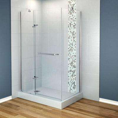 Reveal 33-7/8 in. x 48 in. x 71.5 Corner Shower Enclosure with Chrome Frame and Clear Glass