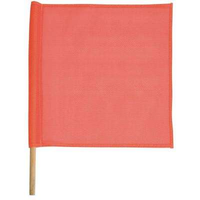 18 in. x 18 in. Orange Vinyl Mesh Flags and Staffs (2-Pack)
