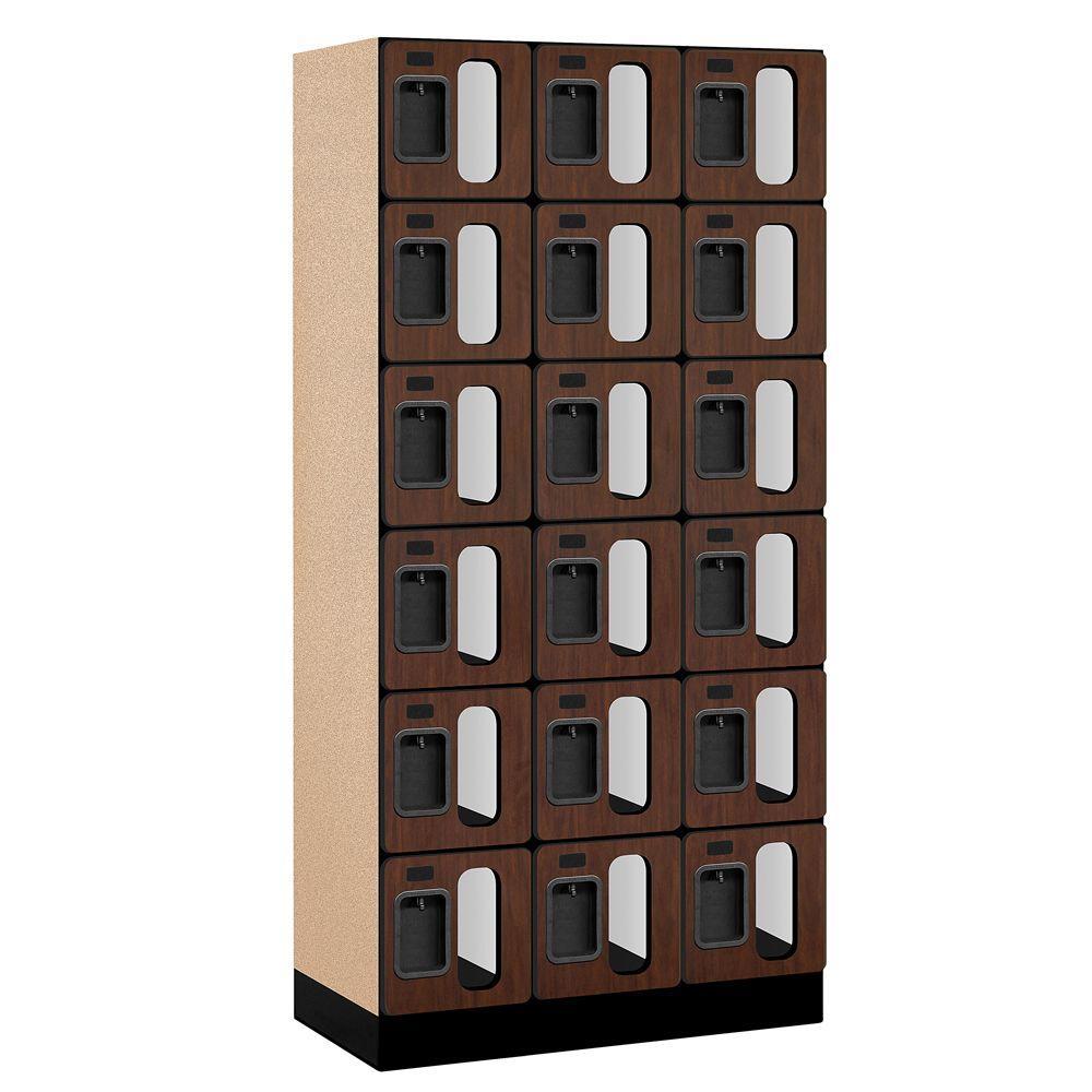 Salsbury Industries S-36000 Series 36 in. W x 76 in. H x 18 in. D 6-Tier Box Style See-Through Designer Wood Locker in Mahogany