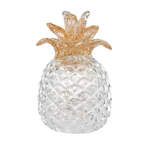 6.5 in. Light White Glass Pineapple with LED