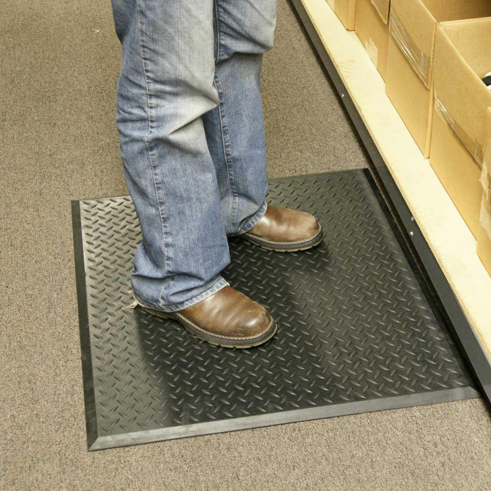 Foot-Rest 28 in. x 31 in. Interlocking Black Anti-Fatigue Floor Mat Center Tile