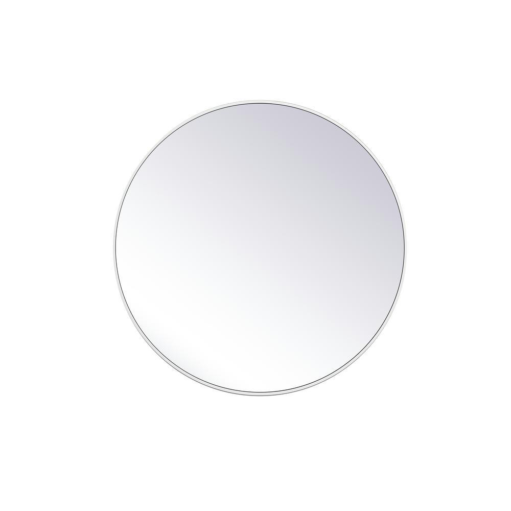 Medium Round White Modern Mirror (39 in. H x 39 in. W)