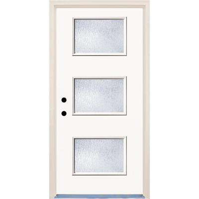 36 in. x 80 in. Classic 3 Lite Rain Glass Painted Fiberglass Prehung Front Door with Brickmould