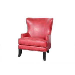 Grant Red High Back Wingback Crackle Leather Accent Chair