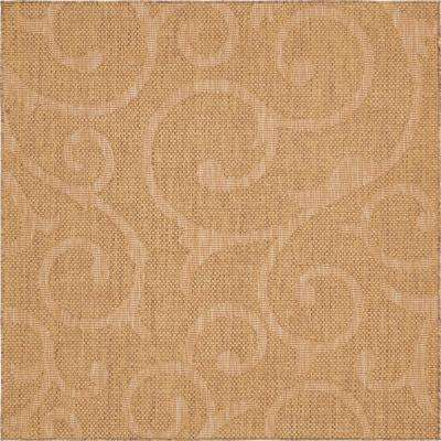 Outdoor Botanical Brown 6' x 6' Square Rug