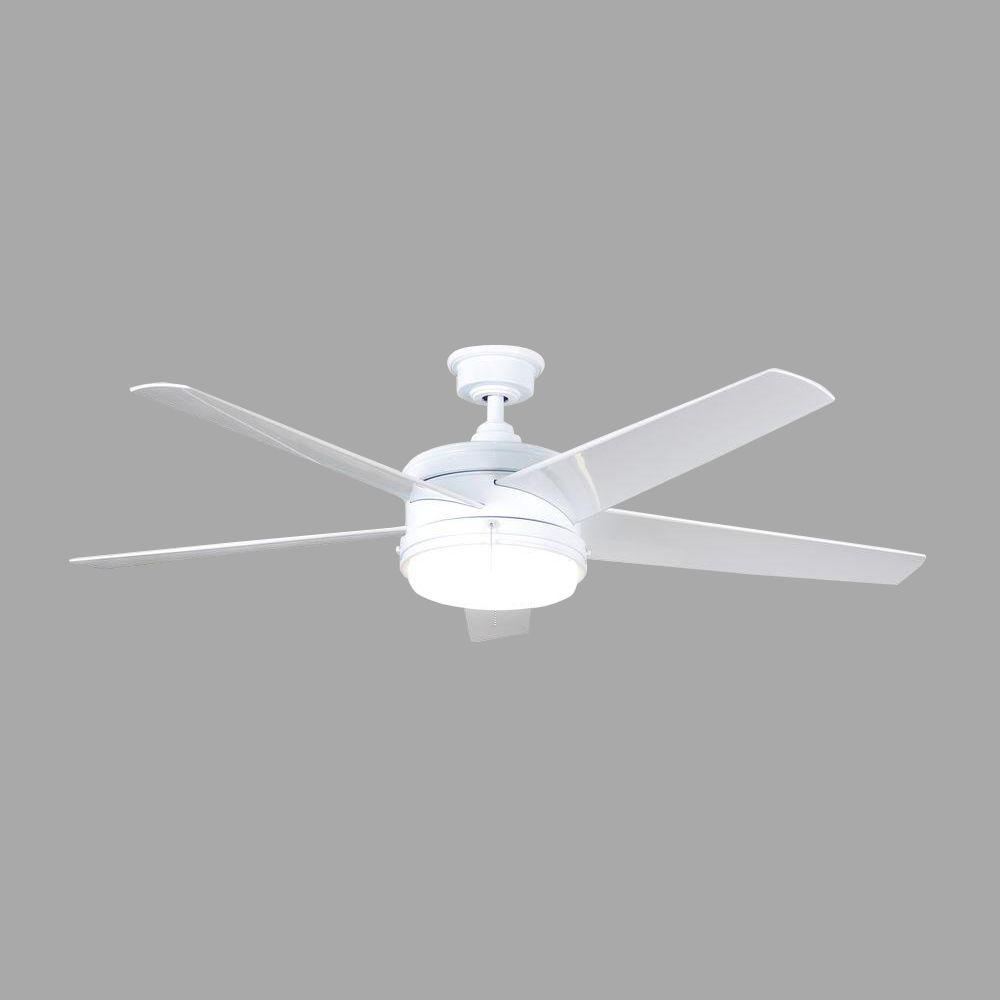 Home Decorators Collection Portwood 60 in. LED Indoor/Outdoor White Ceiling Fan with Light Kit