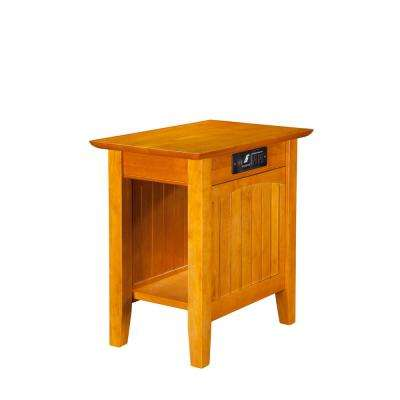 Nantucket Caramel Chair Side Table with Charging Station