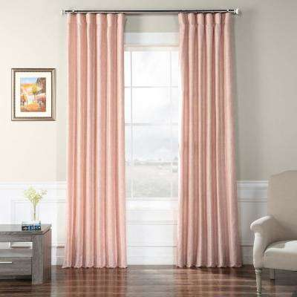 Rosey Finch Pink Faux Raw Silk Curtain - 50 in. W x 84 in. L