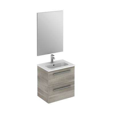 Street pack 20 in. W x 14 in. D Vanity in Sandy Grey with Vanity Top in White with White Basin and Mirror