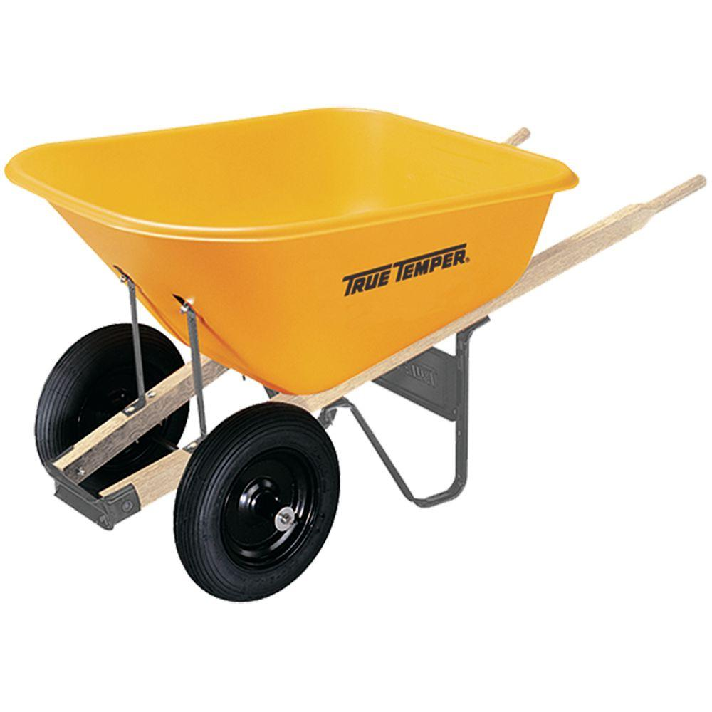 True Temper 8 Cu Ft Poly Wheelbarrow With Dual Wheels Rp8m10 The Home Depot