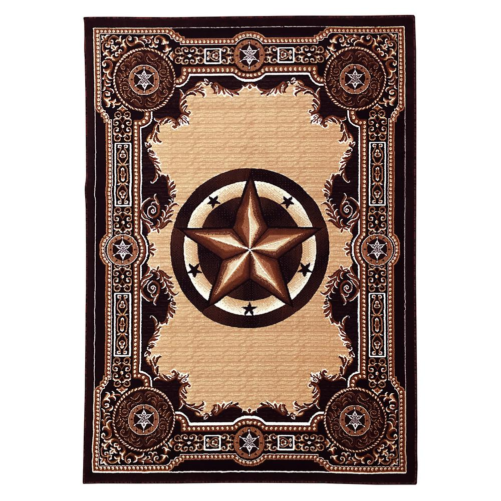 Large Western Rugs: DonnieAnn Traditions Western Star Black 5 Ft. X 7 Ft