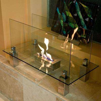 Fiero 31.5 in. Freestanding Decorative Bio-Ethanol Fireplace in Stainless Steel