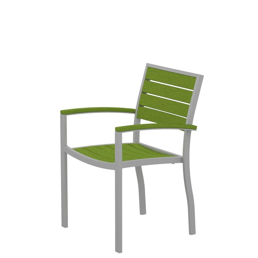 POLYWOOD Euro Textured Silver Patio Dining Arm Chair with Lime Slats