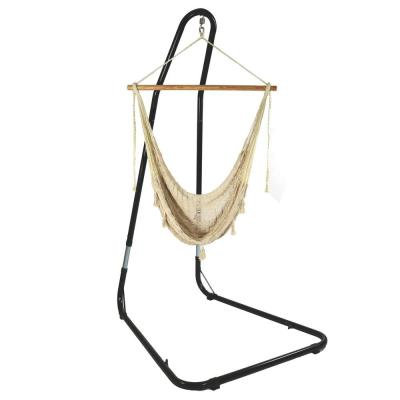3 ft. Mayan Hammock Chair with Wood Spreader Bar and Stand in Natural