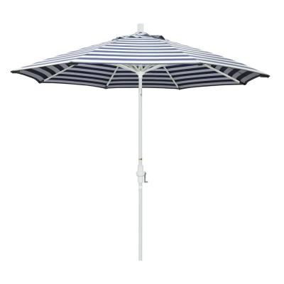 9 ft. Aluminum Market Collar Tilt - Matte White Patio Umbrella in Navy White Cabana Stripe Olefin