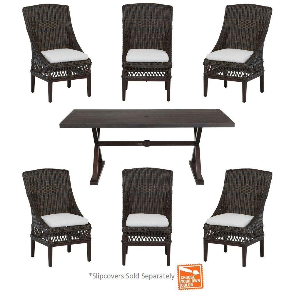 Woodbury 7 Piece Wicker Outdoor Patio Dining Set With Cushion Insert  (Slipcovers