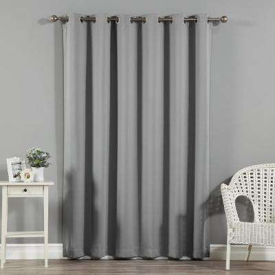 Wide Width Basic Silver 80 in W. x 96 in. L Grommet Blackout Curtain in Grey