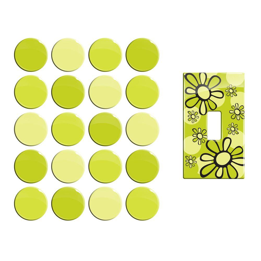Smart Tiles 1.3 Diameter Lime Peel and Stick Deco Dots with 1 Light Wall Plate Cover (40-Pack)-DISCONTINUED
