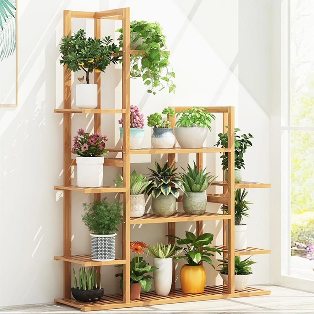 55.5 in. 7 Tier Bamboo Shelf Flower Pot Plant Stand Wooden Rack Garden Indoor Outdoor