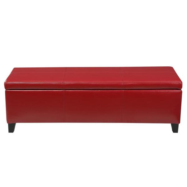 Noble House Glouster Red PU Leather Storage Bench 7756